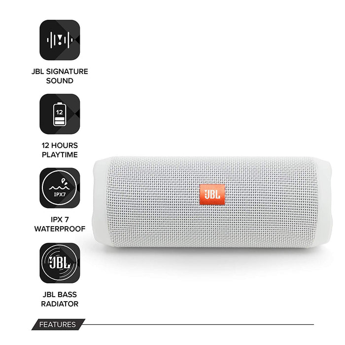 JBL Flip 4 Portable Wireless Speaker with Powerful Bass & Mic (White)