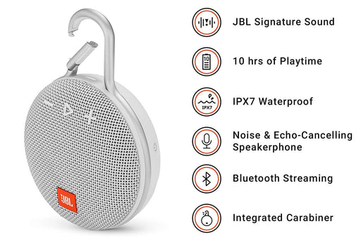 JBL Clip 3 Ultra-Portable Wireless Bluetooth Speaker with Mic (White)