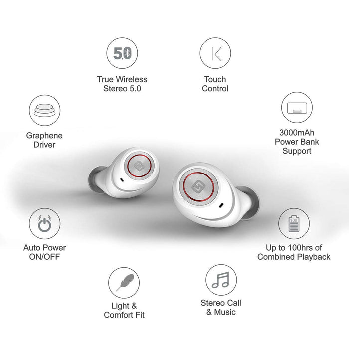 HiFuture TidyBuds Pro - TWS Earbuds with 100H of Combined Playback (White)