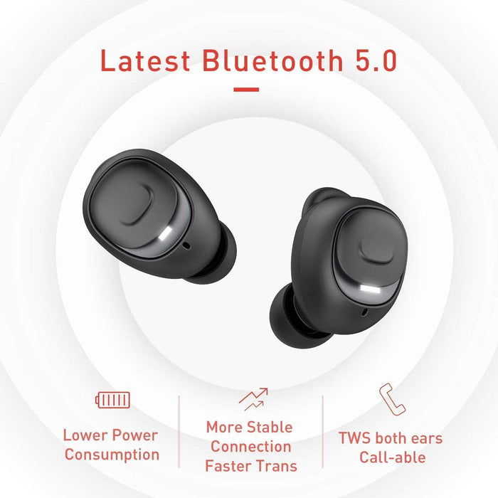 Havit Bluetooth 5.0 - 60 Hours Playtime True Wireless Earphones (i93, Black)