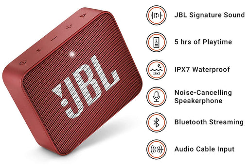 JBL Go 2 Portable Waterproof Bluetooth Speaker with mic (Ruby Red)