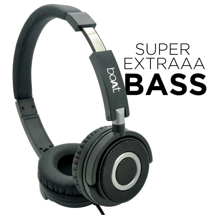 Boat BassHeads 900 Wired Headphone with Mic (Black)