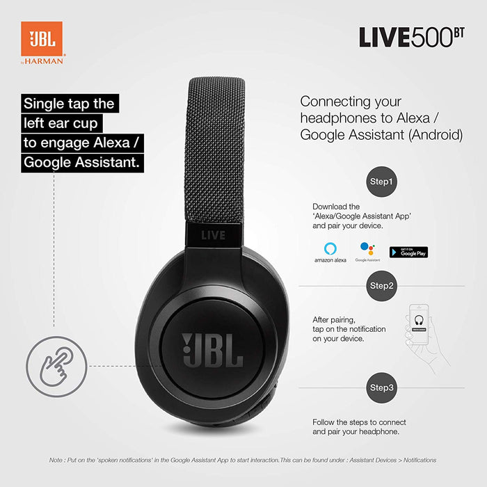JBL Live 500BT Wireless Over-Ear Voice Enabled Headphones with Alexa (Black)