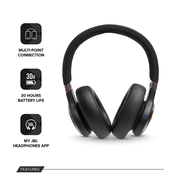 JBL Live 650BTNC Wireless Over-Ear Noise-Cancelling Headphones with Alexa (Black)
