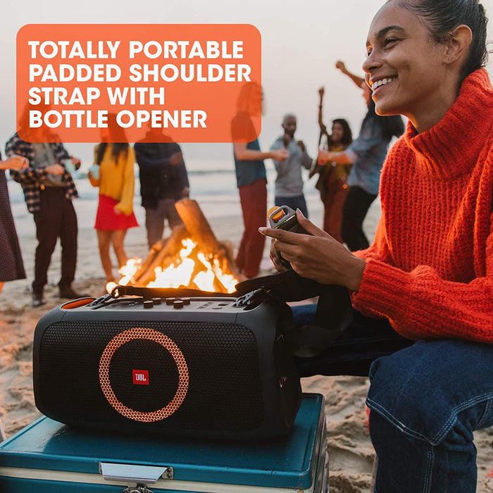 JBL Partybox-On-The-Go Portable Bluetooth Party Speaker with Music Synced Light Show,(100 Watt, Wireless Mic Included, Black)