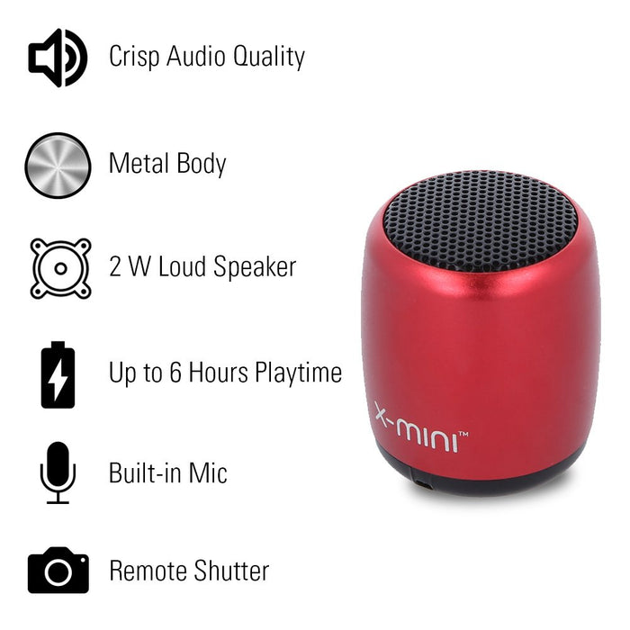 X-mini Nano-X 2W Ultra Portable Wireless Bluetooth Speaker with Mic and Remote Shutter (Crimson Red)