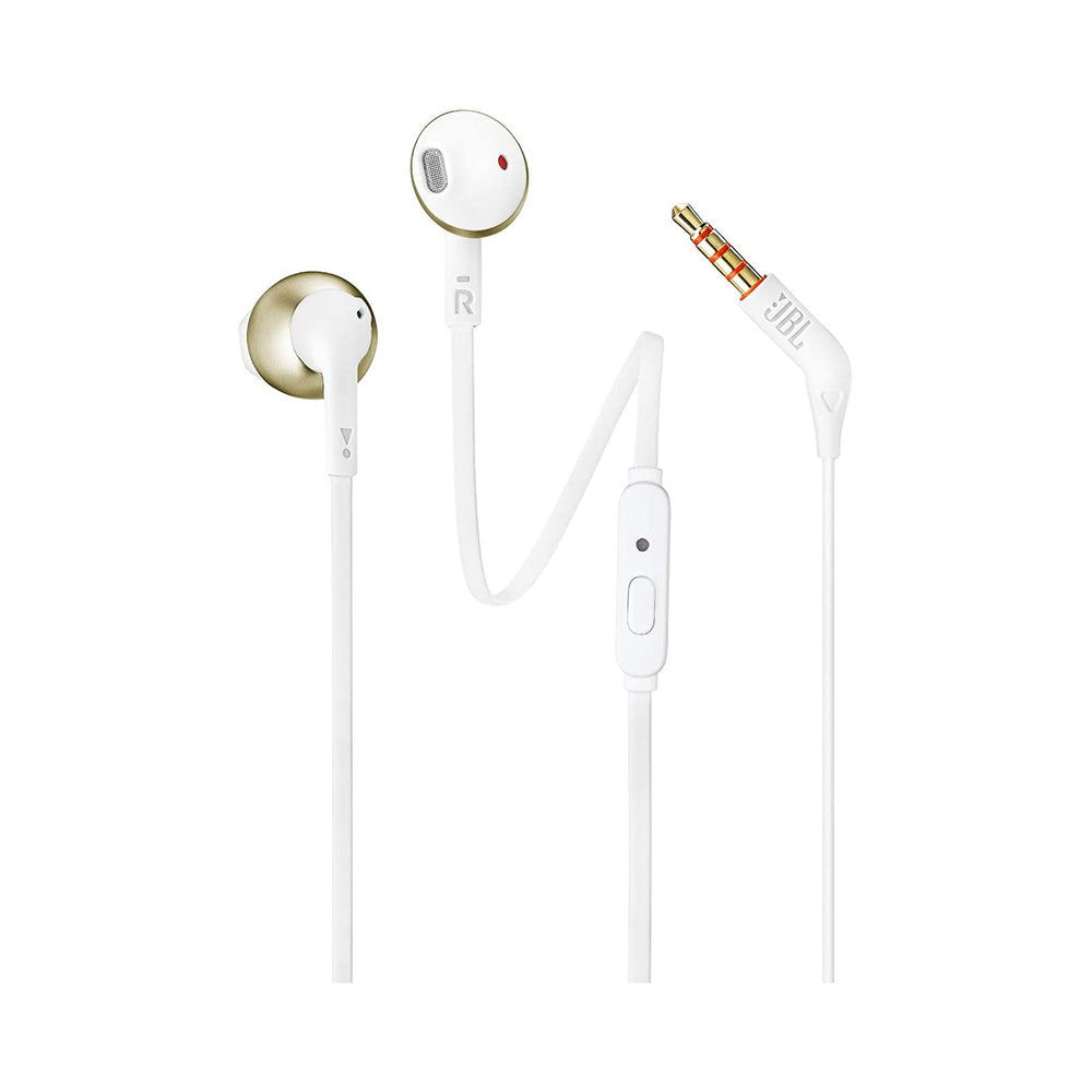 JBL T205 Pure Bass Metal Earbud Headphones with Mic (Gold)