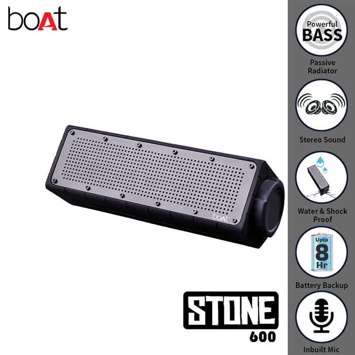 boAt Stone 600 Water-Proof and Shock-Proof Wireless Speakers (Silver)