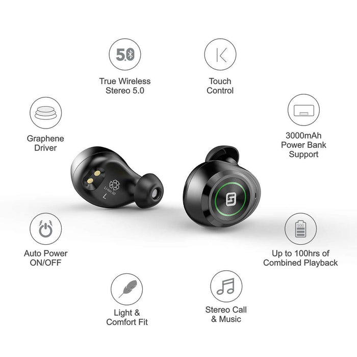 HiFuture TidyBuds Pro - TWS Earbuds with 100H of Combined Playback (Black)