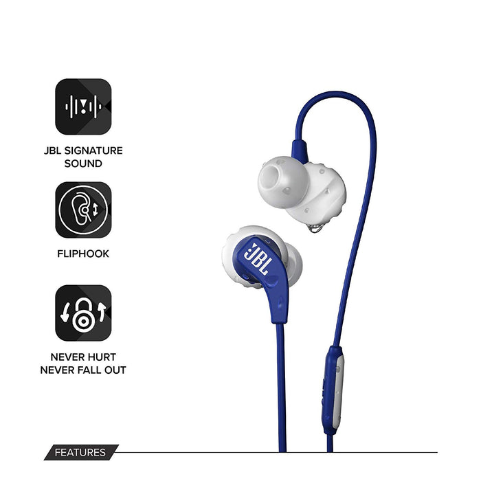 JBL Endurance Run Sweat-Proof Sports in-Ear Headphones with One-Button Remote and Microphone (Blue)
