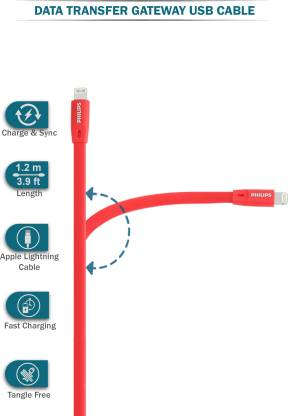 Philips iPhone Lightning to USB cable DLC2508C/97 (RED)