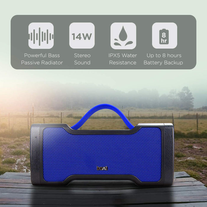 Boat Stone 1000 Bluetooth Speaker with Monstrous Sound (Navy Blue)