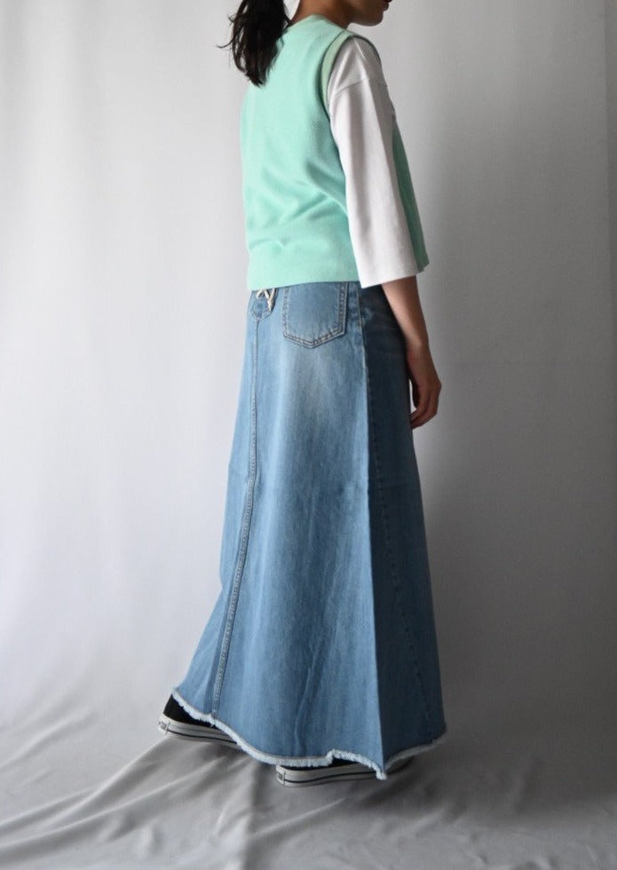 Lace up denim Aline skirt/K191-65006