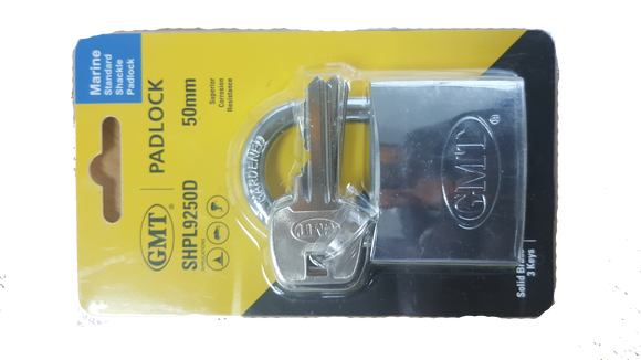 STANDARD SHACKLE  DOUBLE LOCKING  CHROME PLATED  50MM-3KEYS