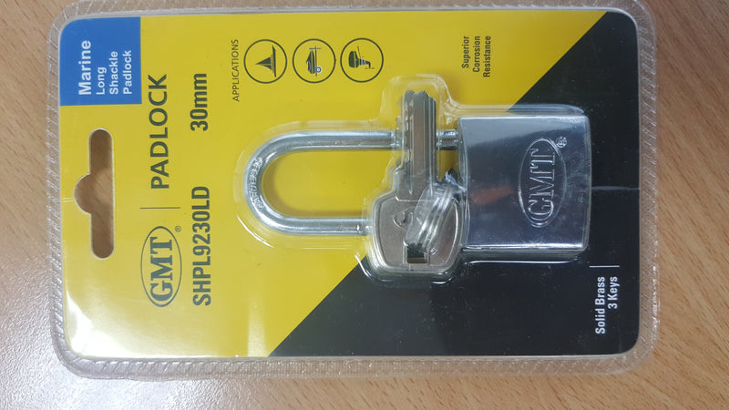 LONG SHACKLE DOUBLE LOCKING CHROME PLATED 30MM-3 KEYS