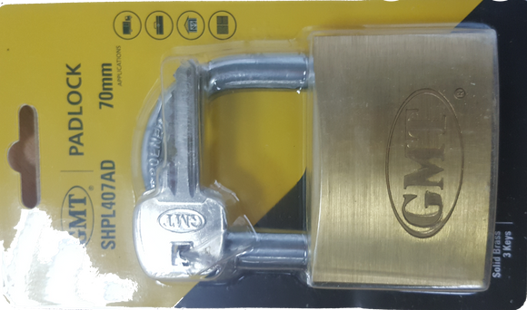 STANDARD  SHACKLE PADLOCK 3KEYS CHROME PLATED 70MM