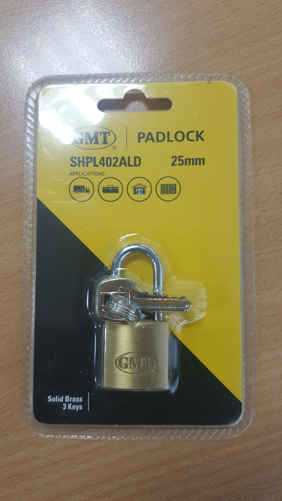 LONG SHACKLE  PADLOCK CHROME PLATED 25MM