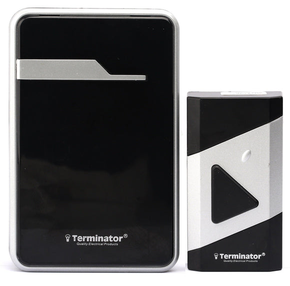 Terminator brand Digital Wireless Doorbell (38 Melodies) in Black body color. Blister Packing TDB 019DC-B