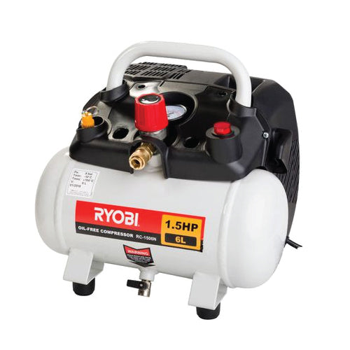 RYOBI COMPRESSOR 6L 1,5HP PORTABLE OIL-LESS