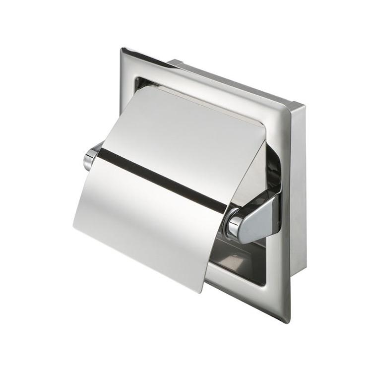 Tissue holder, recessed, polished stainless steel