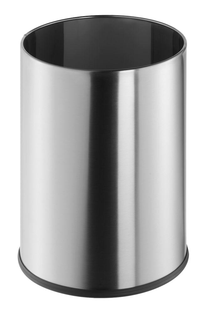 Waste paper bin, 9 L, brushed stainless steel