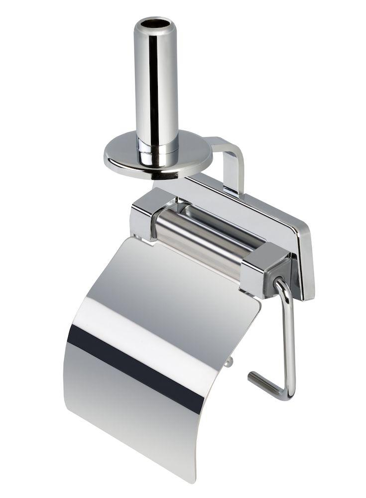Toilet roll holder with stainless steel high gloss cover and spare roll holder