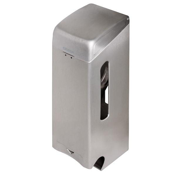 Triple roll tissue dispenser, brushed stainless steel