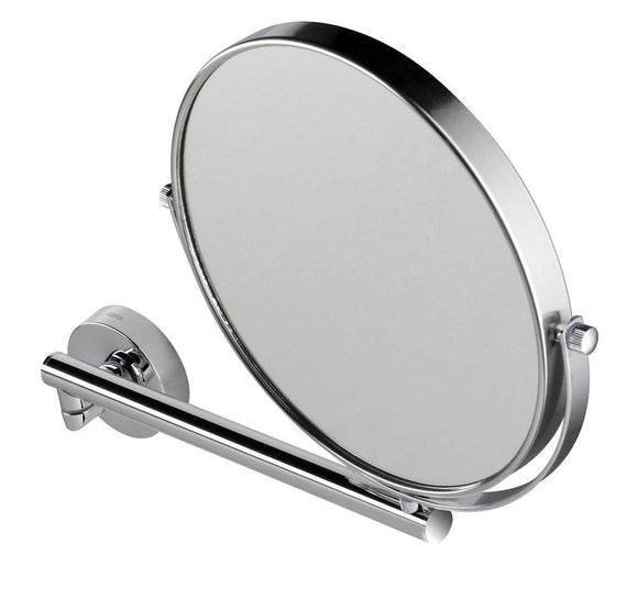 Shaving mirror on single arm, plain and 3x magnification, ø 190 mm