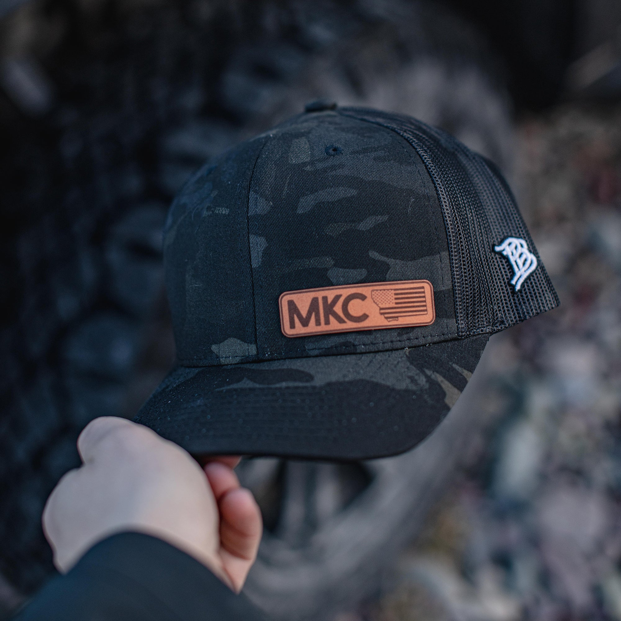 MKC STATE TAG PATCH - CAMO TRUCKER SNAPBACK