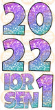 "Mermaid Glitter Senior ""EZ Set"" with 2021/2 Numbers- Lucky Guy"