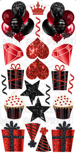 Black & Red Sequin- Birthday Flair