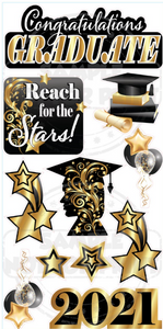 Reach for the Stars Graduation- Black and Gold