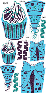 MA Jumbo Cupcake Hat Gift Flair- Teal/Purple