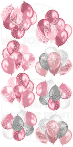 Pink/Silver Glitter Balloon Clusters