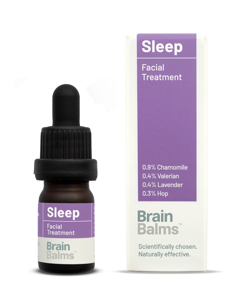 Sleep Facial Treatment bottle carton. Face oil with science-based sedative bioactives to improve sleep and insomnia. Valerian, hops, chamomile and lavender and evidence-based skin enhancing botanicals.