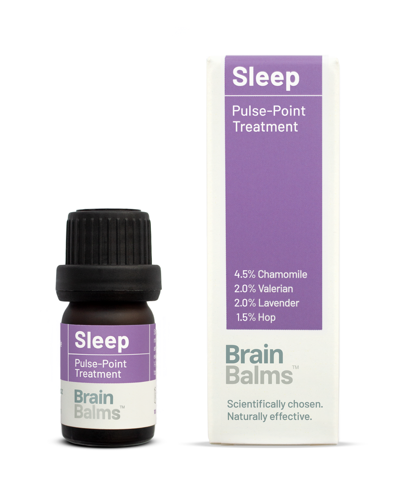 Sleep Pulsepoint Treatment bottle carton. Improve sleep and treat insomnia with science-based bioactives in valerian, hop, lavender, chamomile