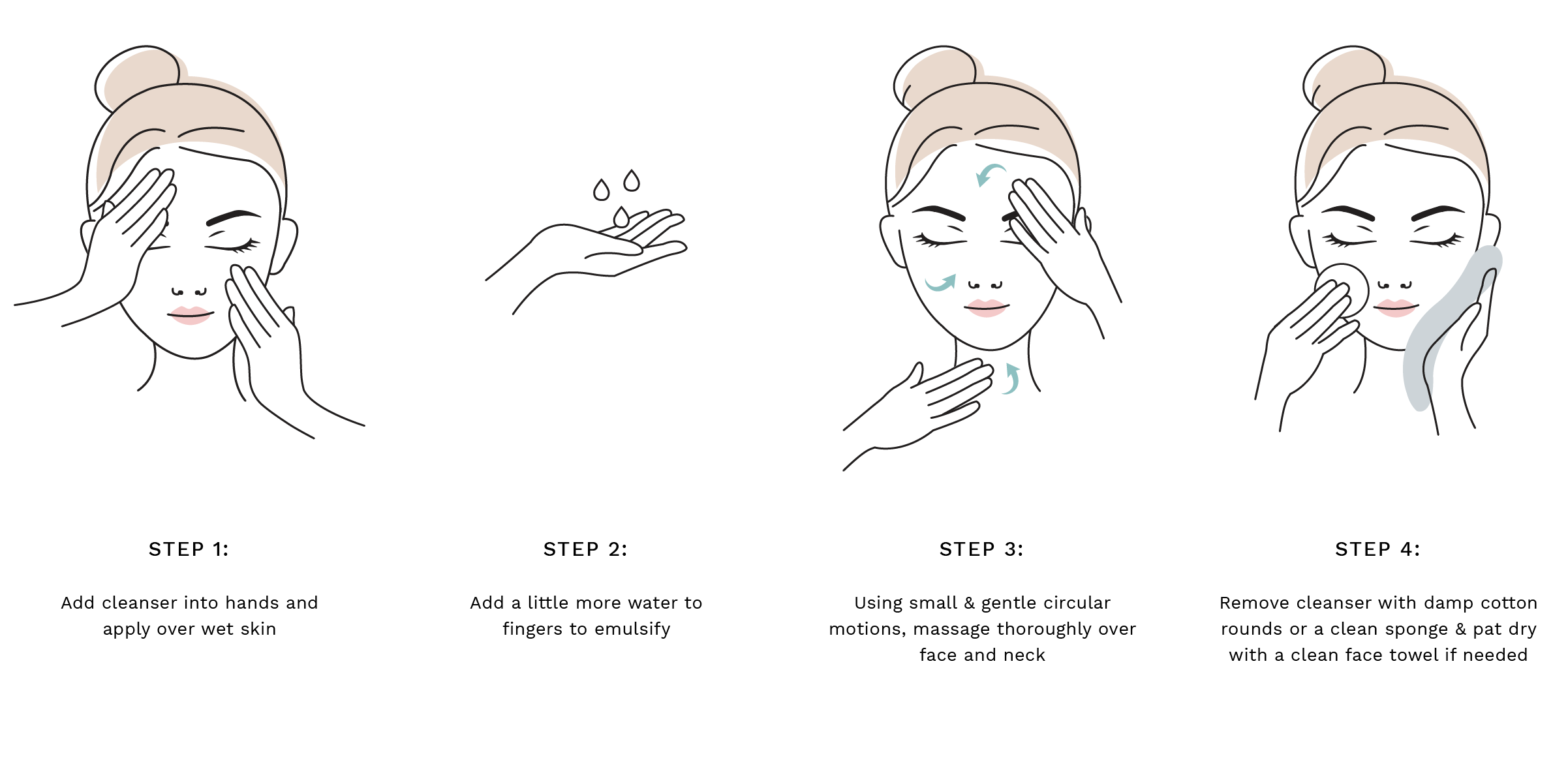Step 1: Add cleanser into hands and apply over wet skin. Step 2: Add a little more water to fingers to emulsify.  Step 3: Using small & gentle circular motions, massage thoroughly over face and neck. Step 4: Remove cleanser with damp cotton rounds or a clean sponge & pat dry with a clean face towel if needed.