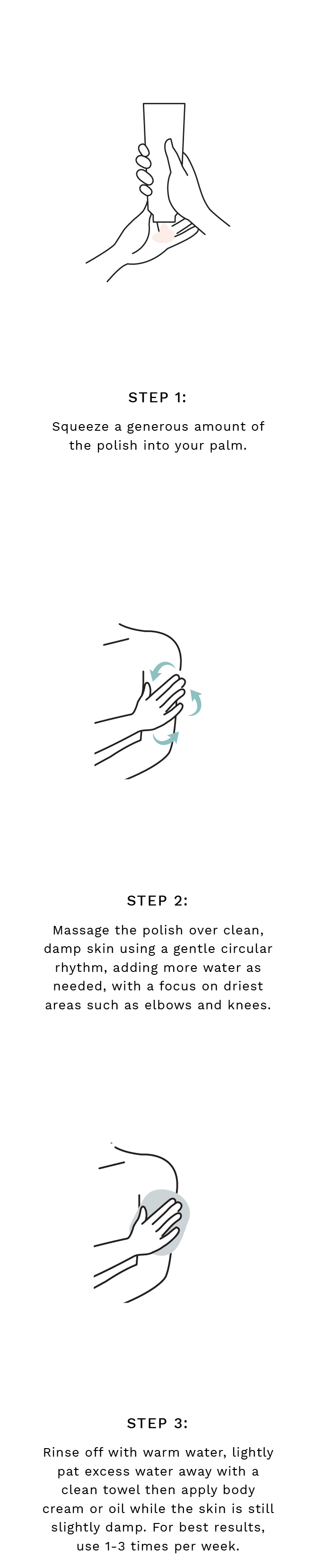 Step 1: Squeeze a generous amount of the polish into your palm. Step 2: Massage the polish over clean, damp skin using a gentle circular rhythm, adding more water as needed, with a focus on driest areas such as elbows and knees. Step 3:Rinse off with warm water, lightly pat excess water away with a clean towel then apply body cream or oil while the skin is still slightly damp. For best results, use 1-3 times per week..