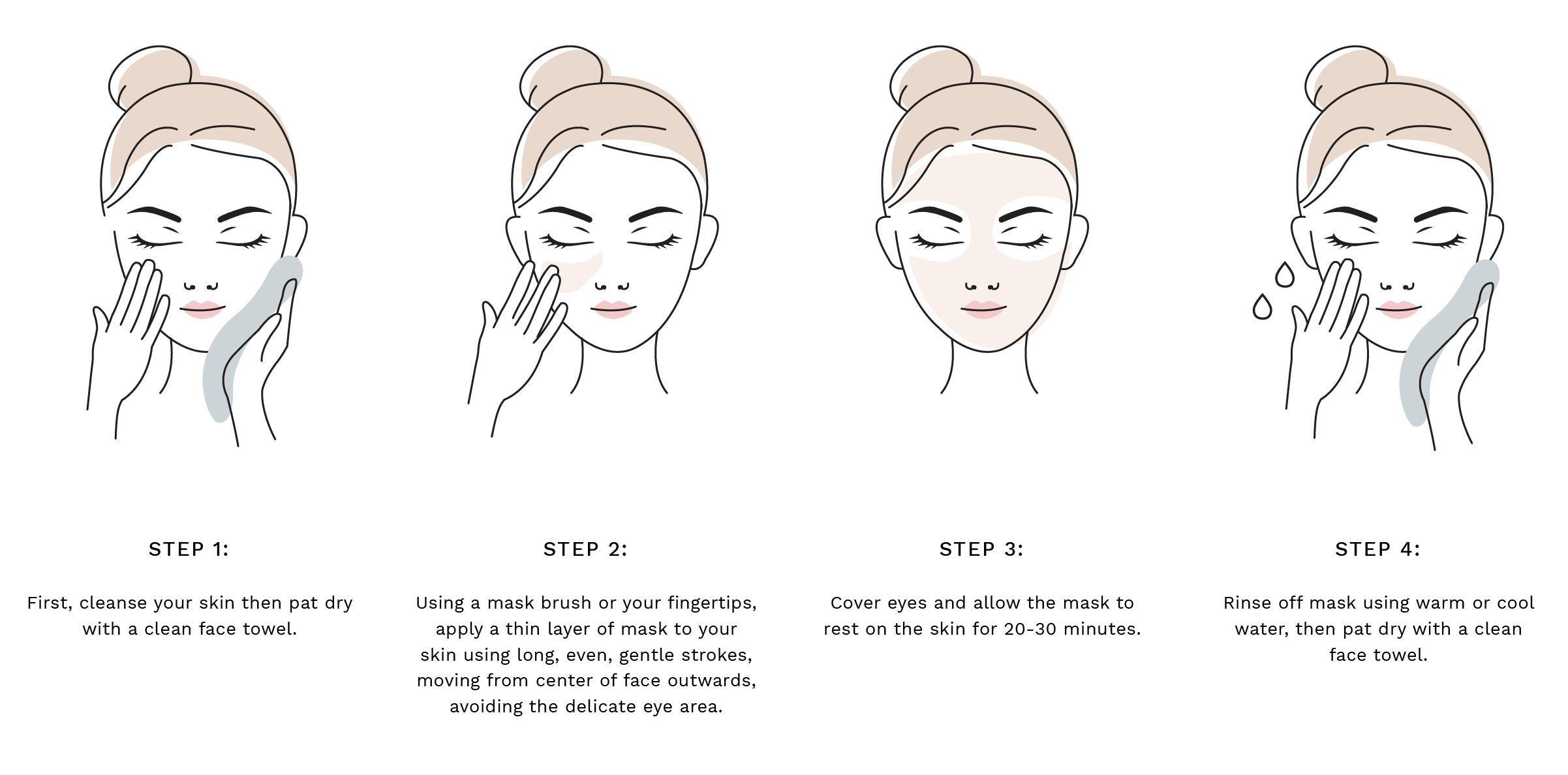 Step 1: First, cleanse your skin then pat dry with a clean face towel. Step 2: Using a mask brush or your fingertips, apply a thin layer of mask to your skin using long, even, gentle strokes, moving from center of face outwards, avoiding the delicate eye area. Step 3: Cover eyes and allow the mask to rest on the skin for 20-30 minutes. Step 4: Rinse off mask using warm or cool water, then pat dry with a clean face towel.