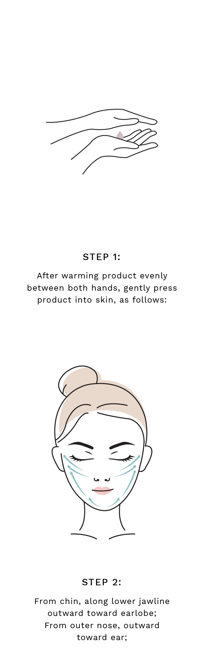 Step 1: After warming product evenly between both hands, gently press product into skin, as follows:  Step 2: From chin, along lower jawline outward toward earlobe; From outer nose, outward toward ear;