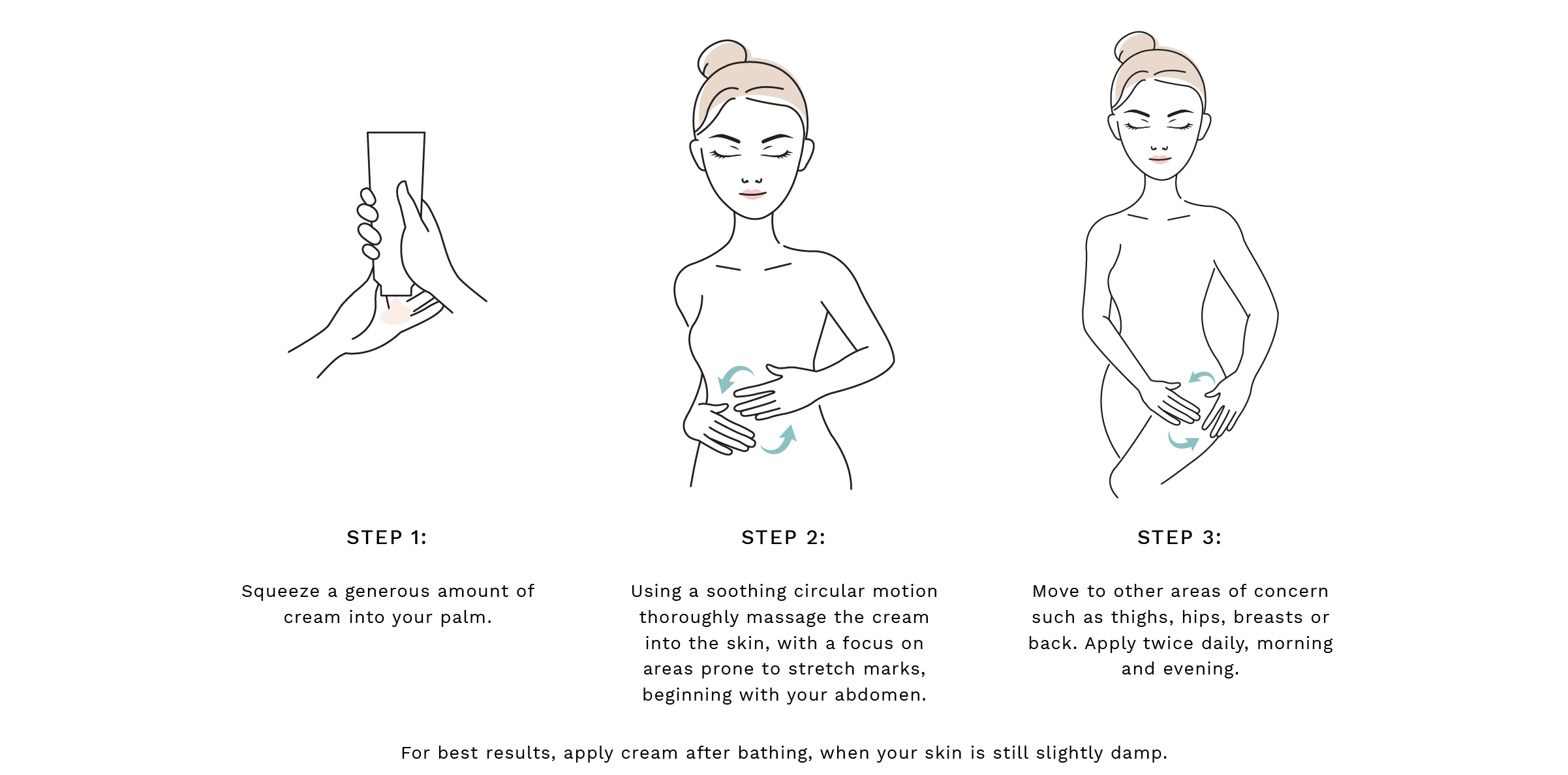 Step 1: Squeeze a generous amount of the polish into your palm. Step 2: Using a soothing circular motion thoroughly massage the cream into the skin, with a focus on areas prone to stretch marks, beginning with your abdomen. Step 3:Move to other areas of concern such as thighs, hips, breasts or back. Apply twice daily, morning and evening. For best results, use 1-3 times per week.   For best results, apply cream after bathing, when your skin is still slightly damp.