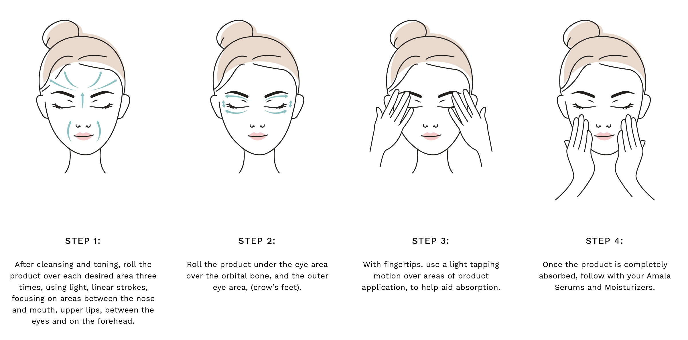 Step 1: After cleansing and toning, roll the product over each desired area three times, using light, linear strokes, focusing on areas between the nose and mouth, upper lips, between the eyes and on the forehead. Step 2: Roll the product under the eye area over the orbital bone, and the outer eye area, (crow's feet). Step 3: With fingertips, use a light tapping motion over areas of product application, to help aid absorption. Step 4: Once the product is completely absorbed, follow with your Amala Serums and Moisturizers.