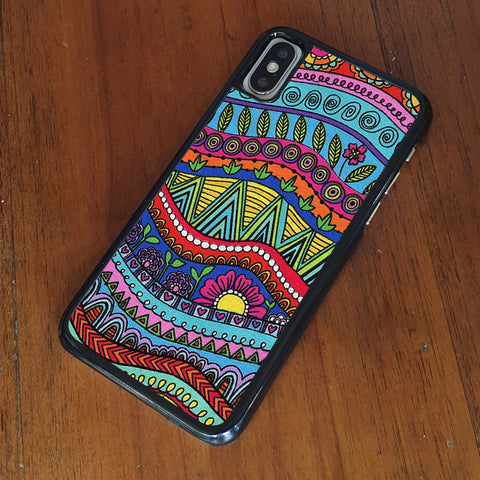 DOODLE STRIPE COLOR PATTERN iPhone Case