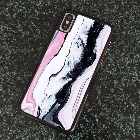 PINK WHITE NOIR MARBLE PATTERN iPhone Case