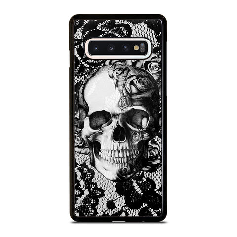 Skull On Black Lace Samsung Galaxy S10 Case