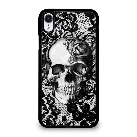 Skull On Black Lace iPhone XR Case