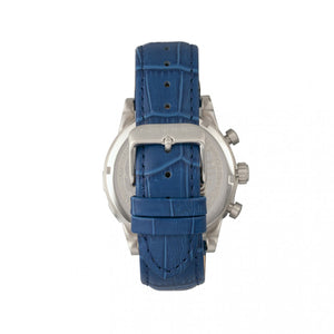 Morphic M60 Series Chronograph Leather-Band Watch w/Date - Silver/Blue - MPH6002