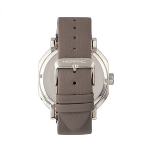 Morphic M62 Series Leather-Band Watch w/Day/Date - Silver/Grey - MPH6203