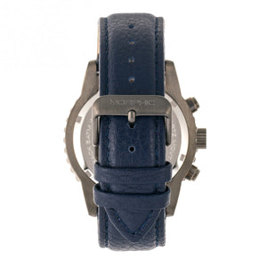 Morphic M67 Series Chronograph Leather-Band Watch w/Date - Gunmetal/Blue - MPH6706