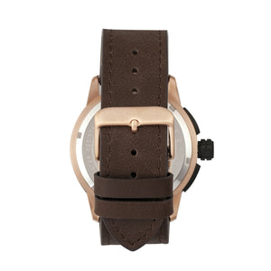 Morphic M61 Series Chronograph Leather-Band Watch w/Date - Rose Gold/Dark Brown - MPH6105